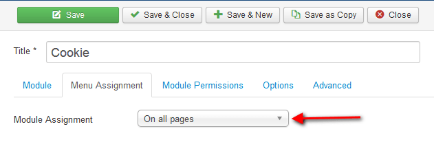 Assign module on all pages