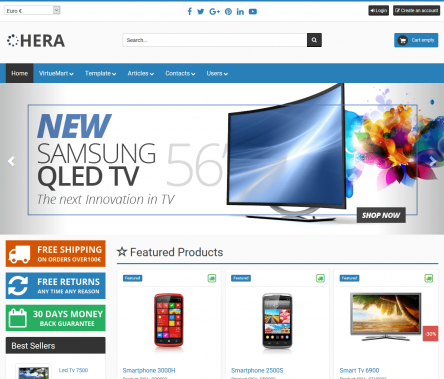 Screenshoot of Hera joomla 3 template, one of the most advanced virtuemart templates available.